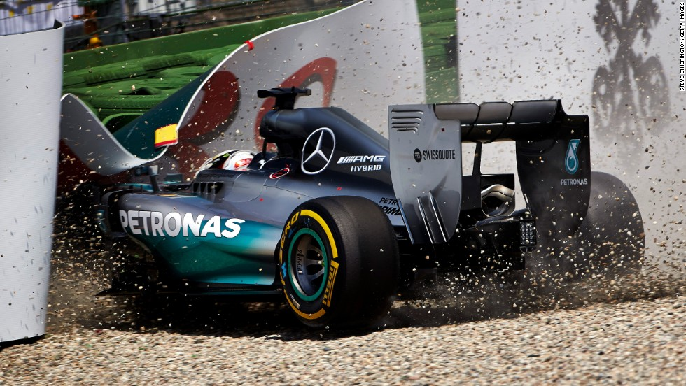 Formula One driver Lewis Hamilton crashes Saturday, July 19, during qualifying for the German Grand Prix. He would go on to finish third in the race, which was won by teammate Nico Rosberg.