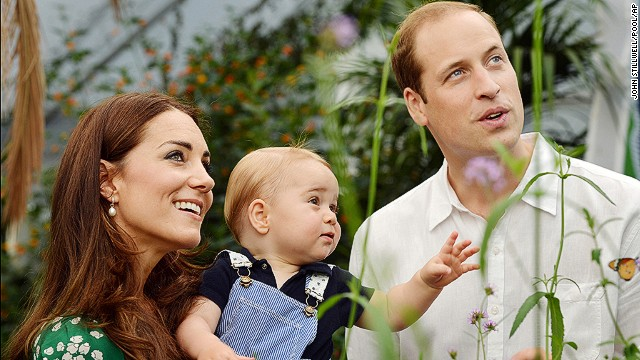 This photo taken Wednesday, July 2, and released Monday, July 21, to mark Prince George's first birthday, shows Britain's Prince William and Kate Duchess of Cambridge and the Prince during a visit to the Sensational Butterflies exhibition at the Natural History Museum, London.