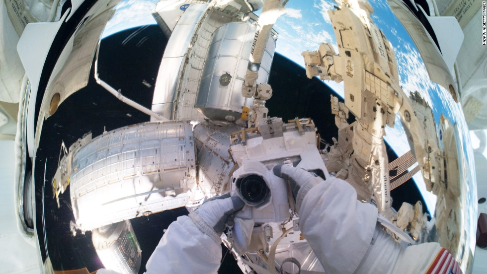During Expedition 28, NASA flight engineer Mike Fossum took a selfie showing the ISS in the background while on a six-and-a-half-hour spacewalk on July 12, 2011. Not only was this the 160th spacewalk devoted to the assembly and maintenance of the ISS -- launched in 1998 -- but this was also the final mission of the space shuttle program, which began in 1981 with the launch of Columbia.