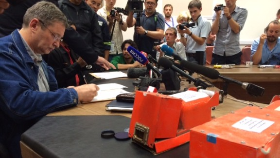 Pro-Russian rebels hand over black box data recorders from downed Malaysia Airlines Flight 17 (MH17) to a Malaysian delegation in Donetsk, Tuesday, July 22, 2014.