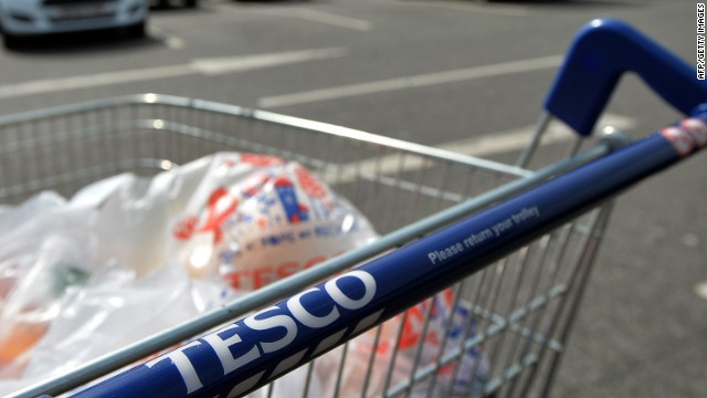A picture shows a trolly of shopping a Tesco store in Liverpool, north west England on April 16, 2014. Supermarket giant Tesco announced a second drop in annual profits in a row on April 16, leaving Britain's biggest retailer hoping that recent expansion into India and China can offset weakness in Europe. AFP PHOTO / PAUL ELLISPAUL ELLIS/AFP/Getty Images