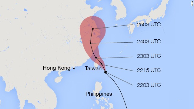 A map of Taiwan's Central Weather Bureau's projections for the path of Typhoon Matmo. The UTC timestamps refere date (22 = July 22) and time (03 = 03:00 UTC) of each projection.
