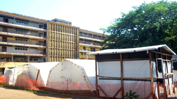 Isolation tents at Donka Hospital in Conakry, Guinea. This is the first outbreak to have affected Guinea. Previous outbreaks have affected Democratic Republic of the Congo, Uganda, and Republic of the Congo.