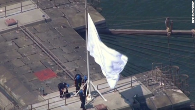 White flags fly over Brooklyn Bridge