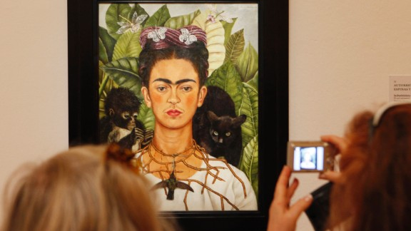 """""""She pointed out her mustache and joint eyebrows because they show a male aspect to her personality, and Frida always wanted to be both. She wanted to be a complete human being and not only the sweet wife,"""" said Prignitz-Poda."""