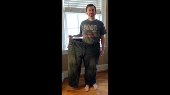 After one year, Kurtz was 100 pounds lighter and could fit into one pant leg of his former jeans. His health insurance rates also went down three times as he got healthier.