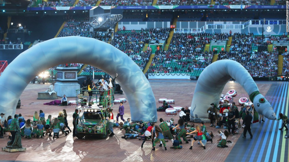 A huge stuffed version of Scotland's famed Loch Ness Monster curled around the stage.