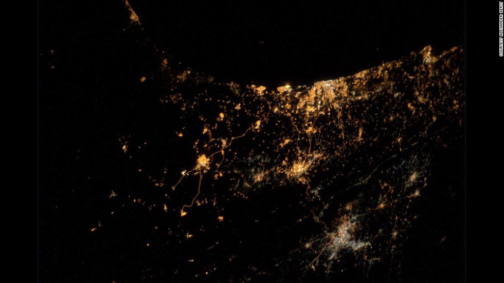 "A photograph <a href=""https://twitter.com/Astro_Alex/status/492003157531451392/photo/1"" target=""_blank"">tweeted by astronaut Alexander Gerst</a> on Wednesday, July 23, shows major cities of Israel and Gaza. Gerst said in his tweet: ""My saddest photo yet. From #ISS we can actually see explosions and rockets flying over #Gaza & #Israel."""