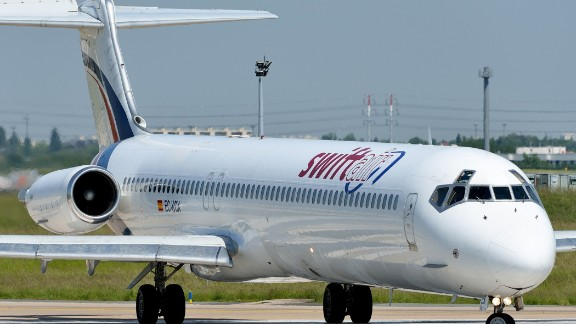 This picture taken on June 6, 2013 shows an MD-83 aircraft of Spanish company Swiftair before take off at Paris' Orly Airport. An Air Algerie plane with more than 110 people on board including French and Spanish nationals went missing on July 24, 2014 during a flight from Burkina Faso to Algiers, company sources and officials said. Aviation sources told AFP the aircraft was a McDonnell Douglas MD-83 leased from Spanish company Swiftair. Its six-member crew were all Spanish, said Spain's airline pilots' union Sepla, while Swiftair confirmed the aircraft had gone missing less than an hour after takeoff from Ouagadougou.     AFP PHOTO / SAMUEL DUPONTSamuel Dupont/AFP/Getty Images