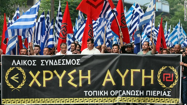 Members of Greek neo-Nazi party Golden Dawn march during an event in memory of Alexander the Great in Thessaloniki on June 15, 2014. Formerly on the fringe of Greek politics, the openly xenophobic and anti-Semitic Golden Dawn won entry to Greece's 300-seat parliament for the first time in elections in June 2012, tapping into widespread anger over immigration and austerity reforms in the debt-ridden country. AFP PHOTO / SAKIS MITROLIDISSAKIS MITROLIDIS/AFP/Getty ImagesMembers of Greek neo-Nazi party Golden Dawn march during an event in memory of Alexander the Great in Thessaloniki on June 15, 2014. Formerly on the fringe of Greek politics, the openly xenophobic and anti-Semitic Golden Dawn won entry to Greece's 300-seat parliament for the first time in elections in June 2012, tapping into widespread anger over immigration and austerity reforms in the debt-ridden country. AFP PHOTO / SAKIS MITROLIDISSAKIS MITROLIDIS/AFP/Getty Images