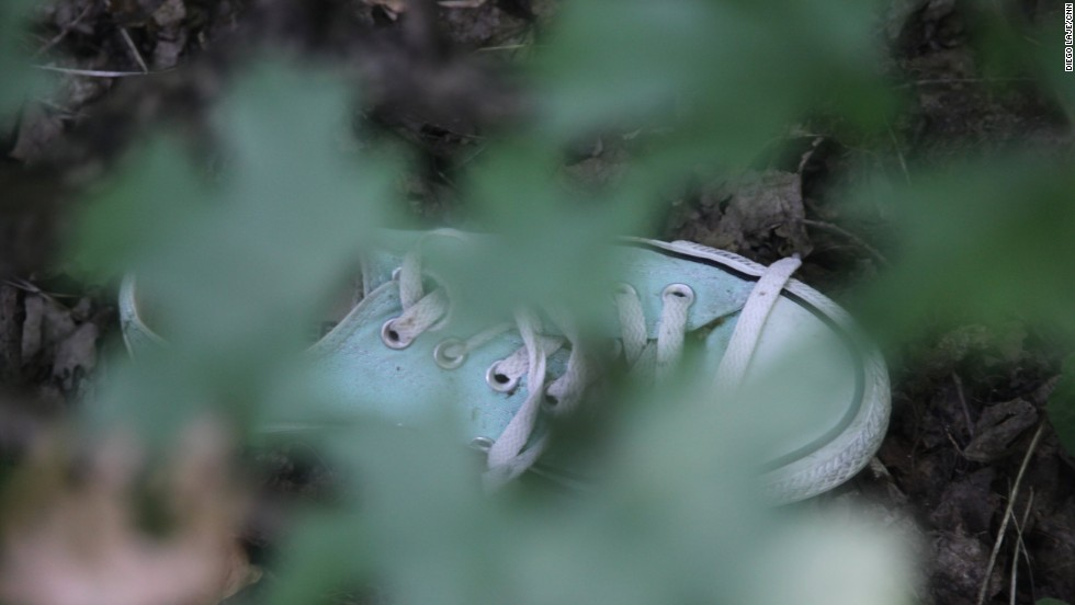 A shoe, appearing to be brand new, sits under foliage at the crash site.