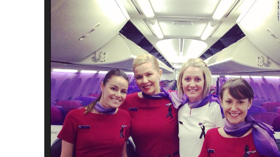 "These flight attendants sent a photo showing their black ribbons to a colleague at another airline who writes a blog, <a href=""http://confessionsofatrolleydolly.com/"" target=""_blank"">""Confessions of a Trolley Dolly""</a> under the pseudonym Dan Air."