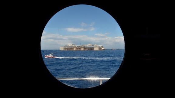 A view from a porthole shows the wreck of the Costa Concordia as it