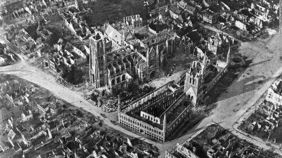 An early aerial photograph from 1915 shows the Belgian town of Ypres, the site of three major battles during World War I, and almost completely devastated by bombing.