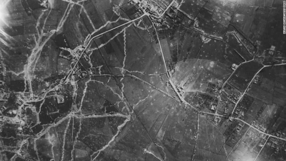 "An aerial reconnaissance photograph from May 29, 1915, shows trench networks at Le Plantin, ""Windy Corner,"" in France."