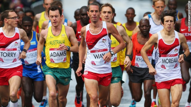 Steve Way leads in the Commonwealth Games marathon with the favorites massing behind him.