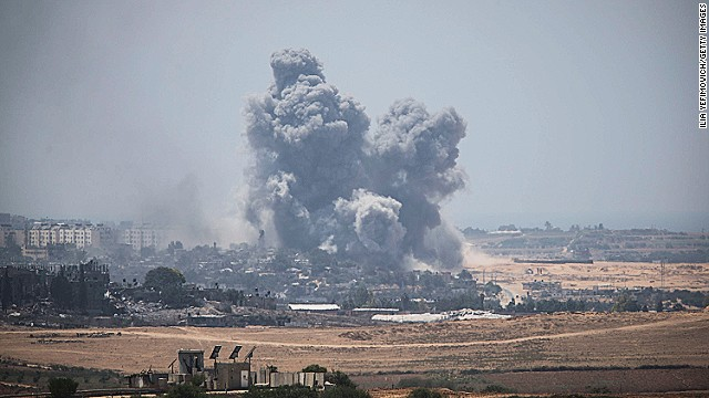 Smoke rises from Gaza Strip after Israeli shelling moment before the 24-hour ceasefire on July 27, 2014 on the Israeli-Gaza border.