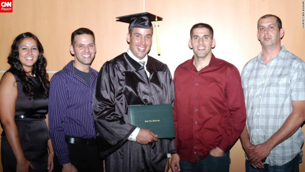 Boukari stands with his family in 2013 after his graduation from Saint Leo University. His older brother Bryan, to his left, was the one to inspire Boukari to lose weight.