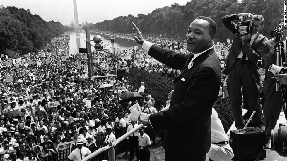 "The Rev. <a href=""http://www.cnn.com/2013/01/17/us/martin-luther-king-jr-fast-facts/index.html"" target=""_blank"">Martin Luther King Jr.</a> was one of the <a href=""http://www.cnn.com/2013/08/28/us/gallery/martin-luther-king-jr/index.html"" target=""_blank"">most influential leaders</a> of the civil rights movement. He raised awareness of American race relations <a href=""http://www.cnn.com/2014/01/19/us/king-speeches-never-heard/index.html"" target=""_blank"">through rhetoric</a> and was a key liaison between the movement and the government. In 1963, King delivered his famous ""<a href=""http://www.cnn.com/2013/08/28/us/mlk-i-have-a-dream-9-things/index.html"" target=""_blank"">I Have a Dream</a>"" speech on the steps of the Lincoln Memorial before 250,000 people, and his words live on today. He stood beside President Lyndon B. Johnson as he signed the Civil Rights Act of 1964 into law. King <a href=""http://www.nobelprize.org/nobel_prizes/peace/laureates/1964/king-facts.html"" target=""_blank"">won the Nobel Peace Prize</a> for his nonviolent campaign toward civil rights and social justice that same year; at the time he was the youngest to do so. In 1983, President Ronald Reagan signed a law making King's birthday a federal holiday, which today has morphed into a <a href=""http://www.nationalservice.gov/mlkday2015"" target=""_blank"">national day of service</a>."