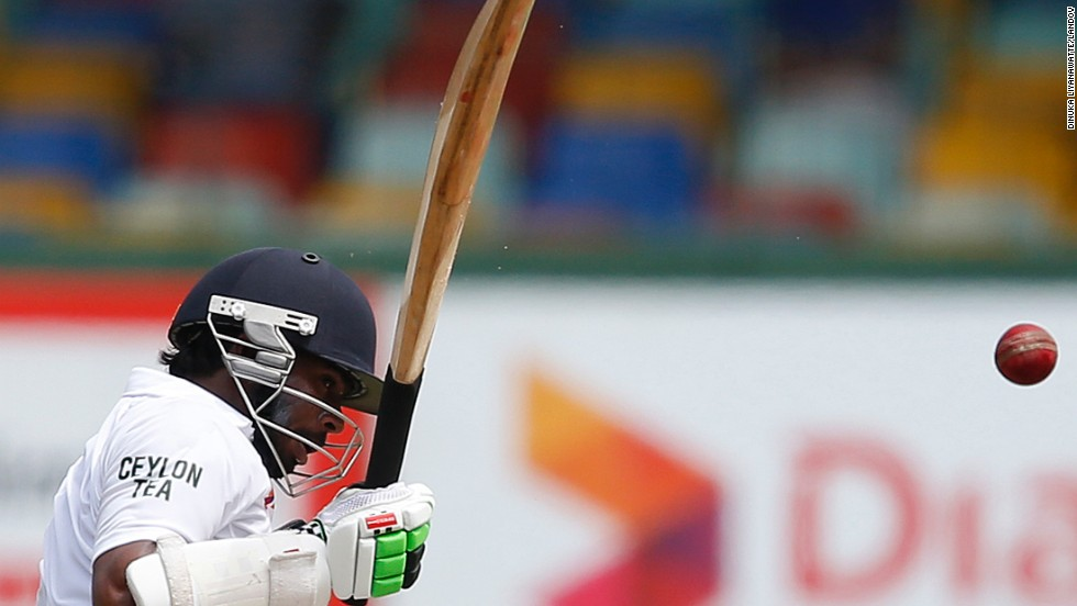 Sri Lanka's Niroshan Dickwella plays a shot during a Test cricket match against South Africa in Colombo, Sri Lanka, on Friday, July 25. The match, the second in a two-match series, ended in a draw. South Africa won the first match.