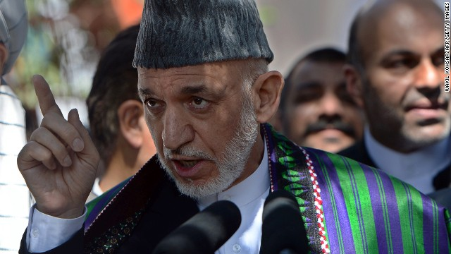Current Afghan President Hamid Karzai at the presidential palace in Kabul on July 28, 2014.
