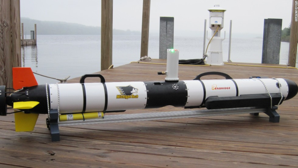 "The ""Roughie"" -- <a href=""http://www.mtu.edu/news/stories/2014/may/toward-smarter-underwater-drones.html"" target=""_blank"">Research Oriented Underwater Gliders for Hands-on Investigative Engineering</a> -- from Michigan Tech University, which is being trained to seek faults in undersea cables and pipelines."