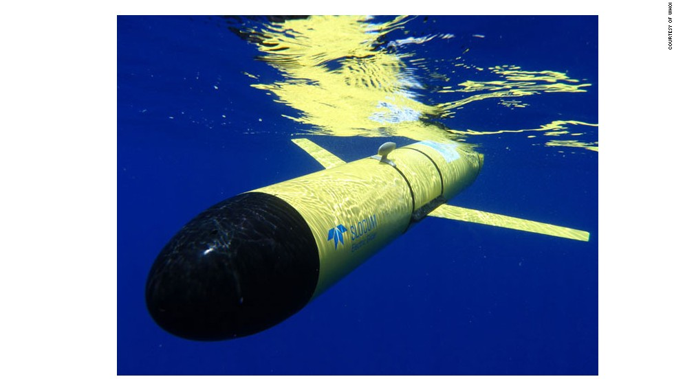 "The <a href=""http://www.webbresearch.com/slocumglider.aspx"" target=""_blank"">Slocum Glider</a> from WHOI, one of the longest-serving undersea drones."