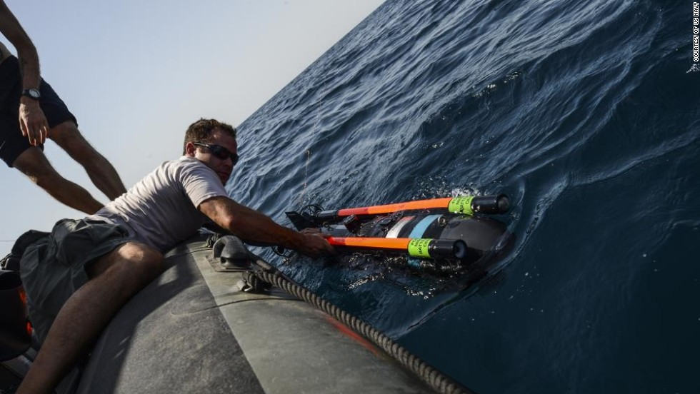 The SeaFox, one of a new generation of military drones, used by the U.S. Navy to sweep for mines in the Persian Gulf.