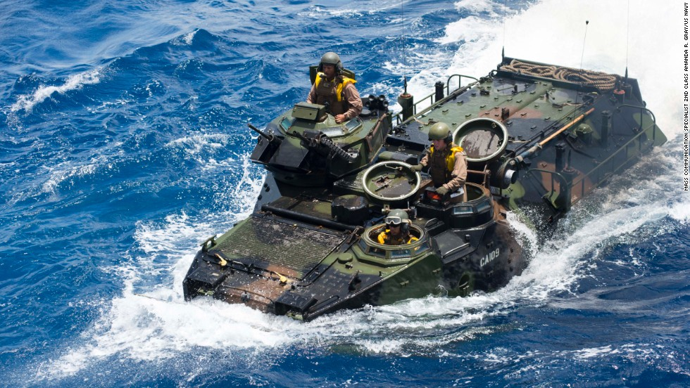 An amphibious assault vehicle approaches the USS Rushmore after small boat operations exercises on July 8.
