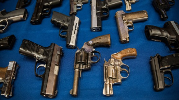 NEW YORK, NY - AUGUST 19:  Guns seized by the New York Police Department (NYPD), in the largest seizure of illegal guns in the city