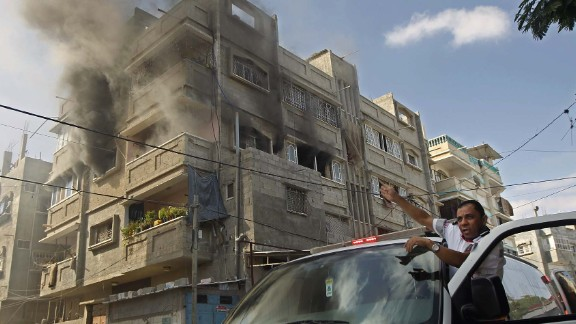 Smoke rises from a building after an airstrike in Rafah on July 31.