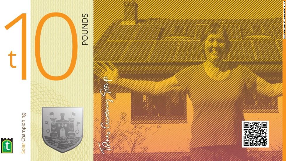The Totnes Pound first appeared in the small town of Totnes in southwestern England in 2007. Its latest set of notes come with many security features, including watermarked paper, holograms and engraved silver foil.