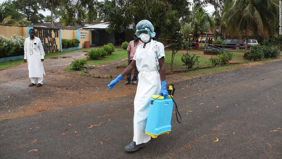 "A nurse from Liberia prepares to disinfect the visitor waiting area at the ELWA Hospital in Monrovia, Liberia on Monday, July  28.  <a href=""http://edition.cnn.com/2014/07/27/world/africa/ebola-american-doctor-infected/"" target=""_blank"">American doctor Kent Brantly</a> is being quarantined in the hospital's isolation unit after contracting the Ebola virus.<a href=""http://www.cnn.com/2014/03/27/world/ebola-virus-explainer/"" target=""_blank""> The deadliest Ebola outbreak </a> on record is centered in the West African nations of Guinea, Sierra Leone and Liberia, where authorities have been working to contain the virus."