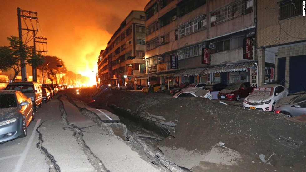 The blast sent flames leaping into the air in the city's Cianjhen district.