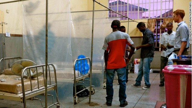 Setting up an isolation ward at Connaught Hospital in Sierra Leone during the Ebola outbreak.