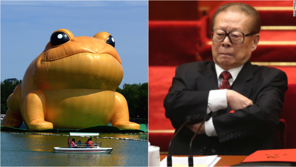 A giant inflatable toad in a Beijing park has made waves on Chinese social media because of what some say is a resemblance to former Chinese President Jiang Zemin.