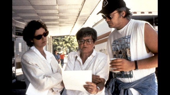 """Prejean on the set with Susan Sarandon and Tim Robbins during the filming of """"Dead Man Walking."""""""