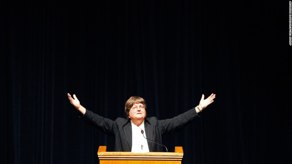 Prejean speaks to an audience at Clarke University in Dubuque, Iowa, in 2012. Even at 75, she's on the road many days a year speaking to audiences about why she believes the death penalty is wrong.