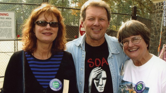 Prejean with actress Susan Sarandon, who won an Oscar for her portrayal of the nun, and Father Roy Bourgeois at protest in Fort Benning.