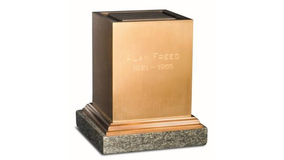 The urn containing Alan Freed's ashes.