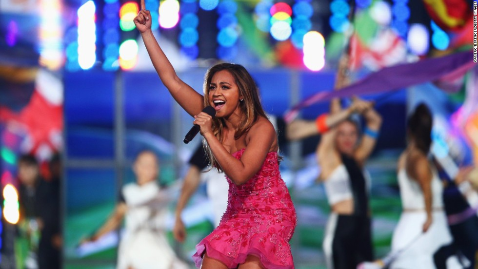 Australian singer Jessica Mauboy gets into her performance.