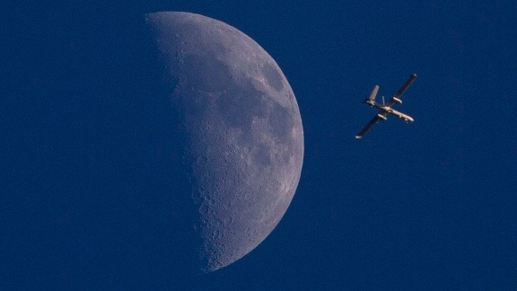An Israeli drone circles over Gaza City on Sunday, August 3.