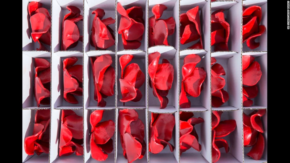 Ceramic poppy heads sit in a box before being installed on Monday, July 28.