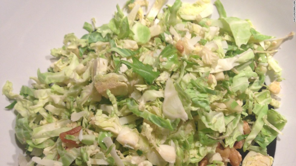 Broccolino, Brooklyn, New York: Brussels sprout salad (delivery, dressing on the side)
