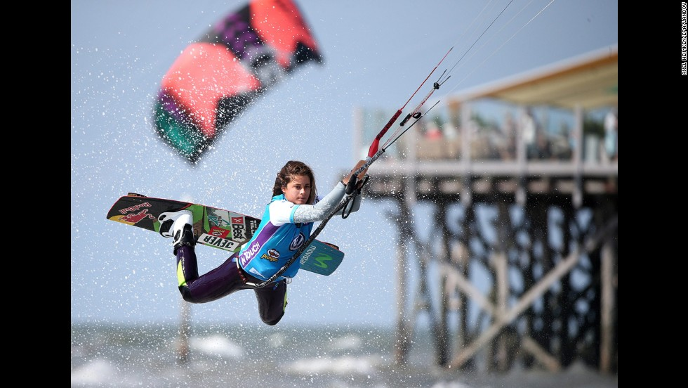 Gisela Pulido jumps while competing Sunday, August 3, during the Kitesurf World Cup event in St. Peter-Ording, Germany.