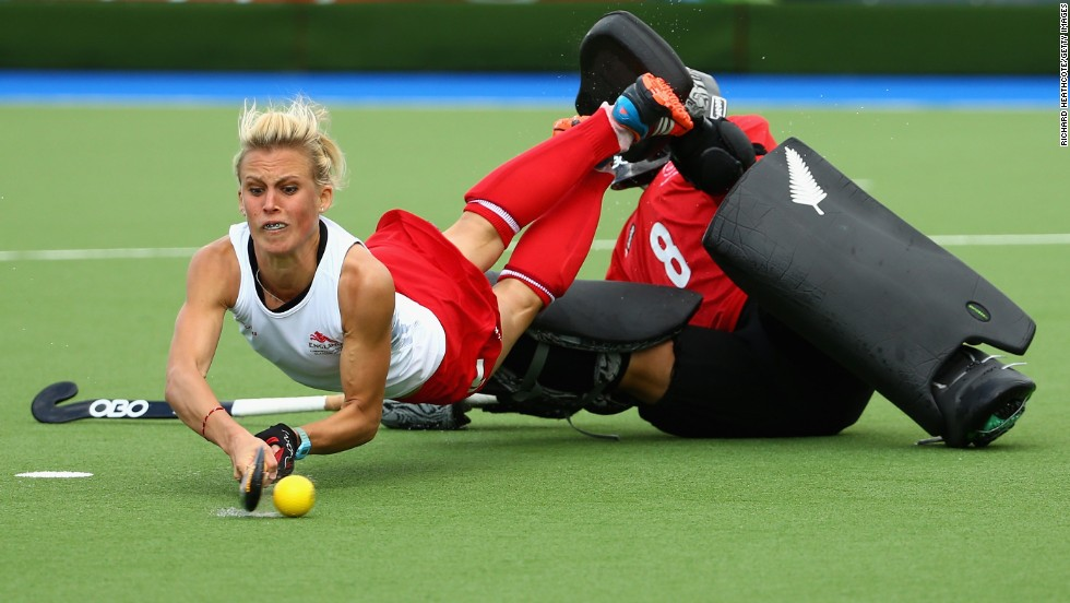 English field hockey player Alex Danson shoots Friday, August 1, during the semifinal match against New Zealand at the Commonwealth Games in Glasgow, Scotland. England won but had to settle for the silver medal after losing to Australia in the final.