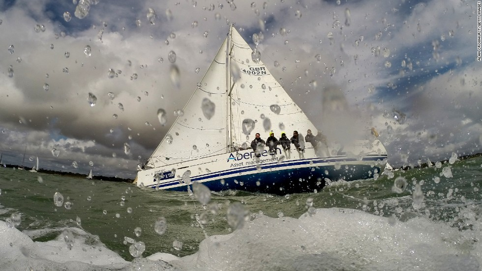 Aberdeen Sunsail 2 competes in a Cowes Week race Saturday, August 2, in Cowes, England.