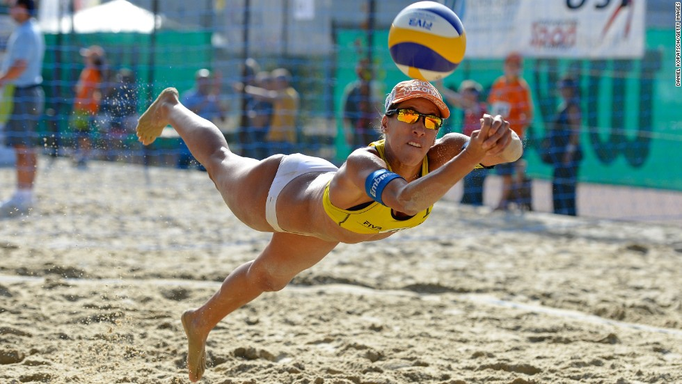 Taiana Lima of Brazil receives the ball Friday, August 1, during a match against the Netherlands at the FIVB Klagenfurt A1 Grand Slam, a beach volleyball tournament in Klagenfurt, Austria.