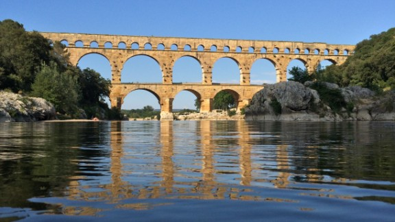 """CNN's Jethro Mullen spent time on the Gardon River in southern France while visiting friends who live nearby. His favorite feature is the Pont du Gard aqueduct, built by Romans in the first century. He called it """"a majestic work of engineering and a reminder of the long history of human activity around the river."""""""