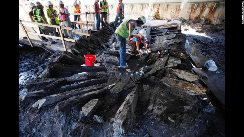 In July 2010, a pair of archeologists begin dismantling the remains of a wooden ship that was found at the World Trade Center construction site in New York. The hull of the ship has been traced back to colonial-era Philadelphia, according to researchers at the Tree Ring Research Laboratory at the Lamont-Doherty Earth Observatory of Columbia University.